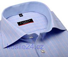 Eterna Modern Fit – světle modrá károvaná košile s vnitřním límcem a manžetou - extra prodloužený rukáv