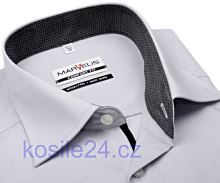 Marvelis Comfort Fit – šedá košile s antracitovým vnitřním límcem, manžetou a légou