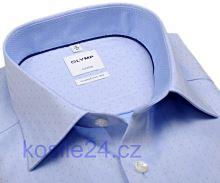 Olymp Comfort Fit Rybí kost – světle modrá košile s puntíky a vnitřním límcem - prodloužený rukáv