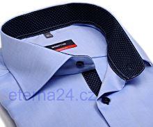 Eterna Modern Fit Fine Oxford – světle modrá košile s tmavě modrým vnitřním límcem, manžetou a légou - prodloužený rukáv