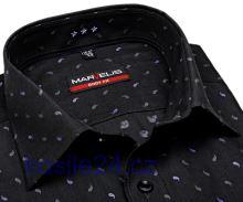 Marvelis Body Fit – antracitová košile s vetkaným vzorem