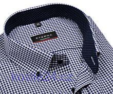 Eterna Modern Fit – košile s tmavomodrým kárem s vnitřním límcem - krátký rukáv