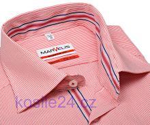 Marvelis Modern Fit – košile s červeným proužkem a vnitřním límcem - prodloužený rukáv