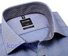 Olymp Modern Fit – modrá košile s vínově červenými puntíky a vnitřním límcem - prodloužený rukáv