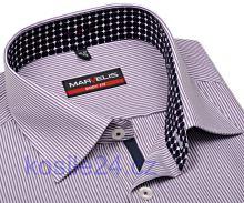 Marvelis Body Fit – košile s fialovým proužkem s vnitřním límcem a légou - prodloužený rukáv