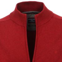 Bavlněný rozepínací svetr Casa Moda – červený - extra prodloužený rukáv