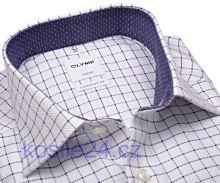 Olymp Comfort Fit – luxusní košile s fialovou kostkou s vnitřním límcem a manžetou