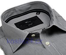 Venti Slim Fit – černé minikáro s vnitřním límcem a manžetou - extra prodloužený rukáv