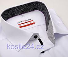 Marvelis Modern Fit – bílá košile s černo-bílým vnitřním límcem a légou
