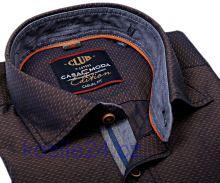Casa Moda Casual Fit – hnědá košile s béžovým vzorem a vnitřním límcem - extra prodloužený rukáv