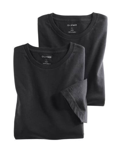 Černé bavlněné tričko Olymp s krátkým rukávem - kulatý výstřih (2 ks)