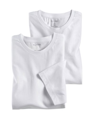 Bílé bavlněné tričko Olymp s krátkým rukávem - kulatý výstřih (2 ks)