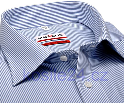 Marvelis Modern Fit - bílá košile se světle modrým proužkem